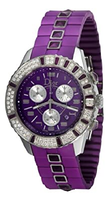 Christian Dior Unisex CD11431JR001 Christal Chronograph Diamond Purple Dial Watch