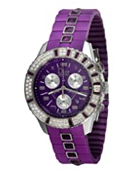 Bargain!! Christian Dior Unisex CD11431JR001 Christal Chronograph Diamond Purple Dial Watch USA Sale