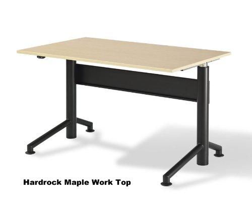 "VertdeskTM 30"" x 60"" Electric Adjustable Height Desk (Hardrock Maple with Black Base)"