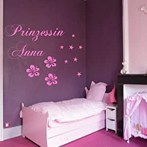 wandtattoo prinzessin mit ihrem wunschnamen und blumen sterne wandschrift wandsticker wanddeko. Black Bedroom Furniture Sets. Home Design Ideas