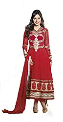 Ombresplash Women Georgette Dress Material (Os311 _Red)