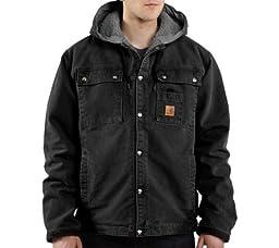 Carhartt Men\'s Sherpa Lined Sandstone Hooded Multi Pocket Jacket J284,Black,X-Large