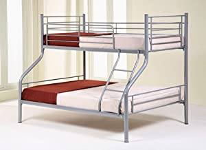 Metal Triple 3 Sleeper Bunk Bed With Two Deep Quilted Mattresses