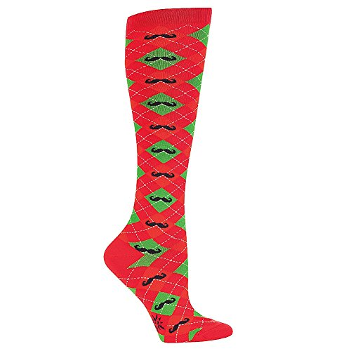 Sock It To Me Holiday Themed Knee High Tube Socks (Merry Mustache)