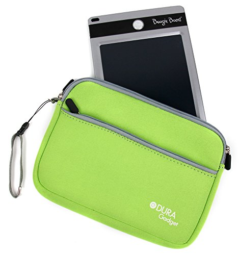 Duragadget Lime Green Protective Neoprene Carry Case For Boogie Board 8.5 Inch, Boogie Board Jot 8.5 Inch Writing Tablet & Personal Organiser (All Colours) With Front Zip Pocket