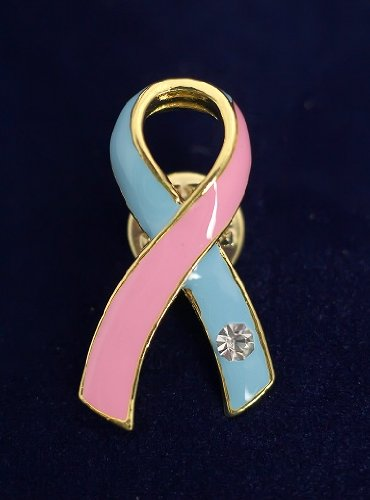 Pink and Blue Ribbon Pin- Large Ribbon with Crystal (36 Pins)