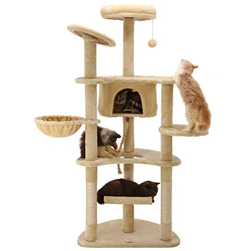 Ollieroo 60 h cat climbing tree tower condo scratcher for Cat tower with hammock