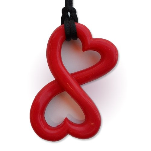 Infinity Heart Teething Necklace by Zen Rocks - a Stylish New Twist to Teething - Ruby