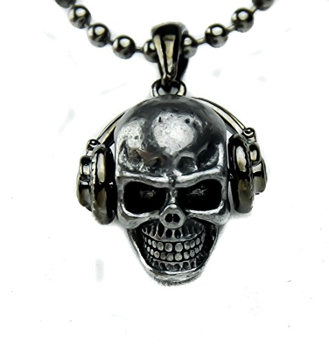 Dj Skull With Headphones Necklace