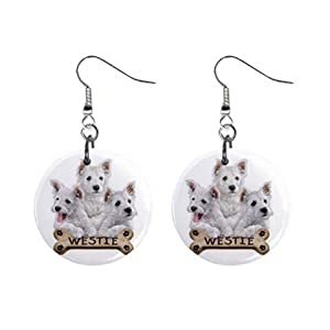 West Highland White Terriers - Westies Dog Pet Lover Jewelry Button Earrings 15454515