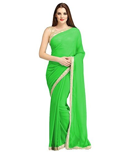 Sky Global Women's Green Chiffon Saree With Unstitched Blouse (Green_Saree_2134)