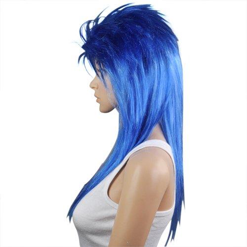 [World Pride Cool Long Rocker Costume Wig (Blue)] (Joan Jett Wig)