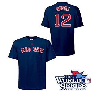 Mike Napoli Boston Red Sox Navy Player T-Shirt w  World Series Logo by Majestic by Majestic