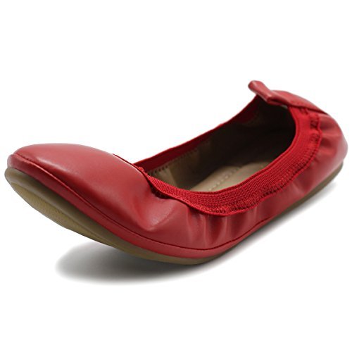 Ollio Women's Shoe Comfort Ballet Flat (9 B(M) US, Red) (Red Ballet Flats For Women compare prices)