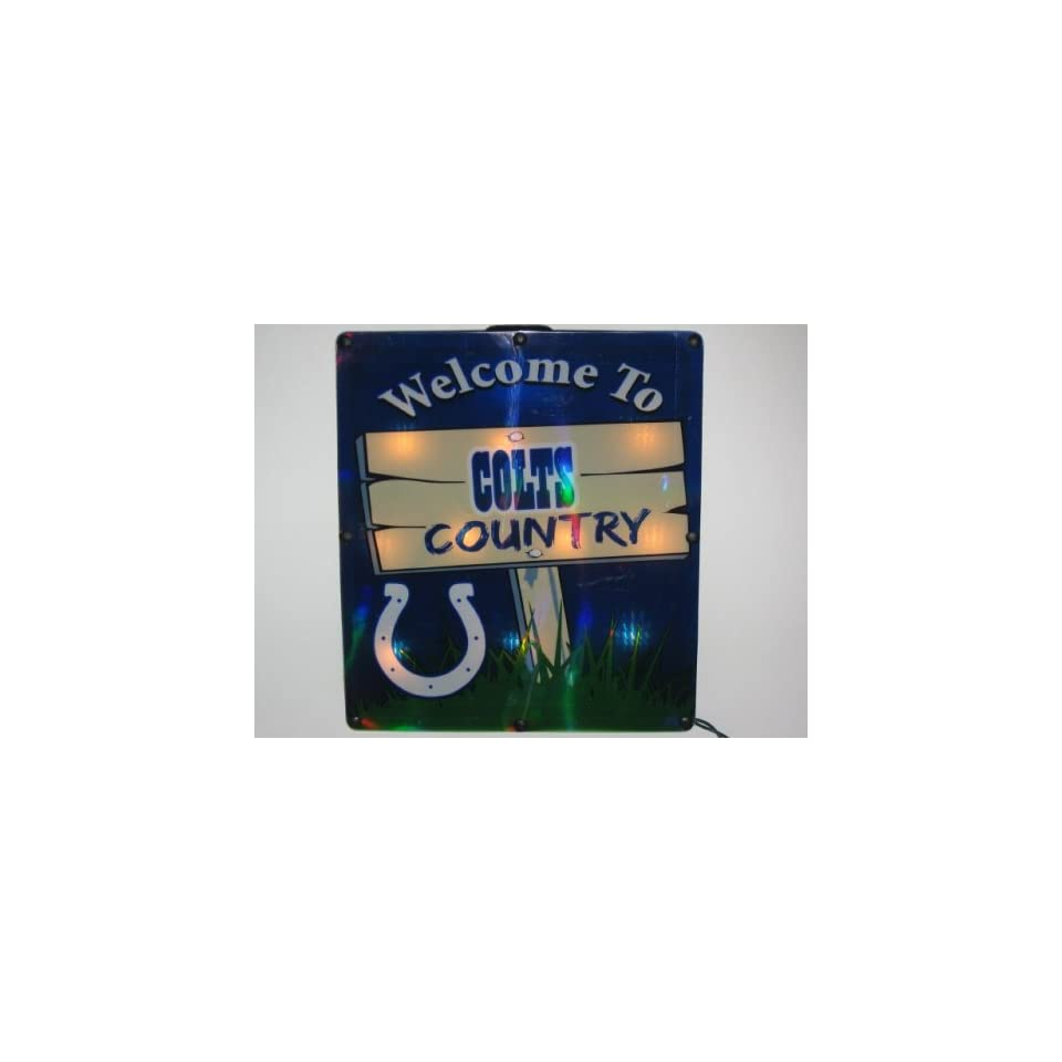 INDIANAPOLIS COLTS Team Logo LIGHTED INDOOR / OUTDOOR WINDOW SIGN (11 Tall x 9.75 Wide)