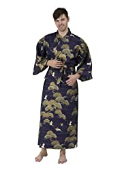 Beautiful Robes Men\'s Pines & Cranes Cotton Kimono Navy Blue Long
