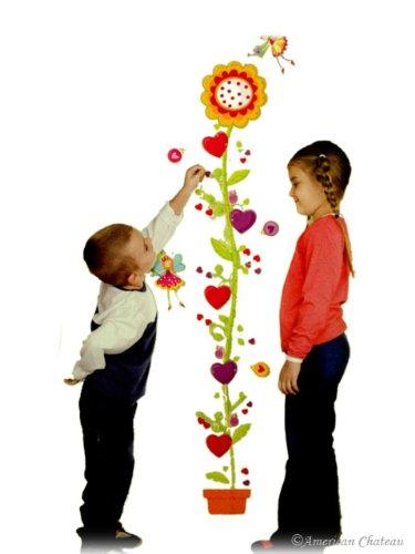 Baby Growth Chart Kids Girls Room Sticker Wall Flowers Child Height