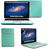 GMYLE4 in 1 Turquoise Blue MacBook Pro 13 inch Matte Frosted Hard Case - Soft Sleeve Bag - Silicon Keyboard Cover - Screen Protector