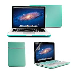GMYLE(R) 4 in 1 Robin Egg Blue Turquoise Rubberized (Rubber Coated) Hard Case Cover for 13.3 inches Macbook Pro - with Robin Egg Blue Turquoise Soft Sleeve Bag and Silicon Keyboard Protector - 13 inches Clear LCD Screen Protector -