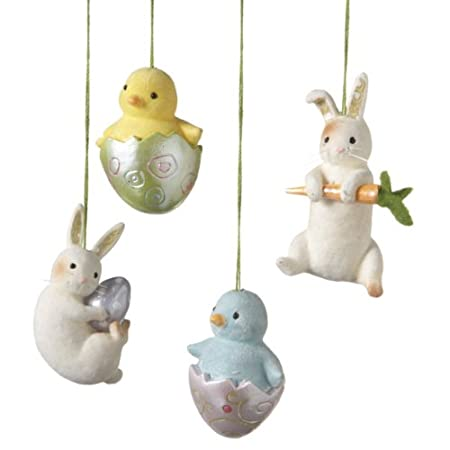 Chick and Bunny Easter Ornaments Set of 4
