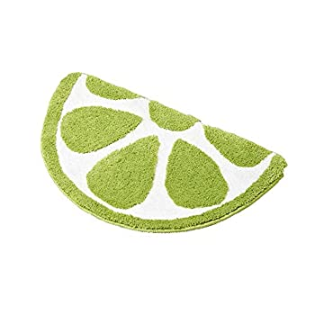 Baby Playtime Cozy Lemon Cute Fruits Half Round Shaped Bedroom Bathroom Doorway Kitchen Floor Rug Carpet Water Absorption Non-Slip mat for Kids Room (Green, 50x80CM)