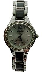 XOXO Women's XO5317 Two-Tone Silver and Black Rhinestone Accented Watch
