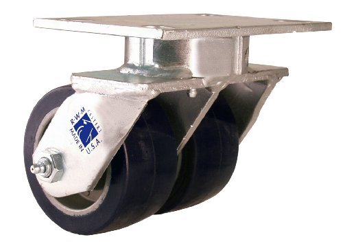 "RWM Casters 2-65 5"" Diameter Urethane On Aluminum Wheel Kingpinless Dual Wheel Swivel Plate Caster with Straight Roller Bearing, 4-1/2"" Length X 4"" Width Plate, 1440 lbs Capacity Range"