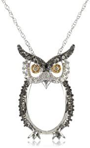 "10k Two-Tone Gold Black, White and Champagne Diamond Owl Pendant Necklace (1/10 cttw, H-I Color, I2-I3 Clarity), 18"" by Amazon Curated Collection"