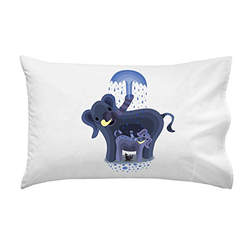 """Elephant Showers"" Cute Mom & Baby Trunk Squirting - Pillow Case Single Pillowcase front-938766"