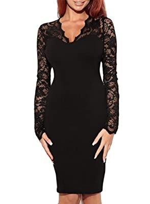 Miusol® Women's Floral Lace Long Sleeves Bridesmaid Midi Dress