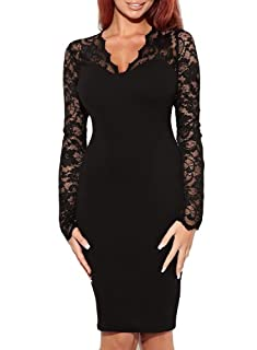 Miusol Women's Sexy Lace Dress V Neck Slim Cocktail Party Dresses,Ship From USA (Miusol XSmall/US Size 2, Long sleeve black)