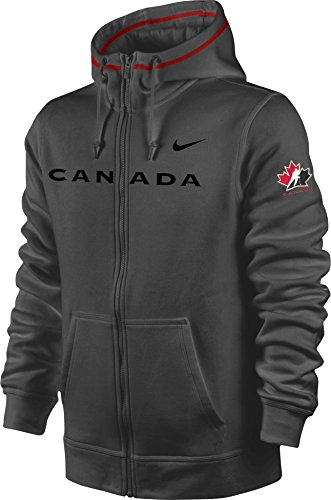 Nike Canada Hockey Satin Wordmark Logo TKO Therma-Fit Full Zip Hoodie (Anthracite Dark Grey, XL) (Canada Zip Up Hoodie compare prices)