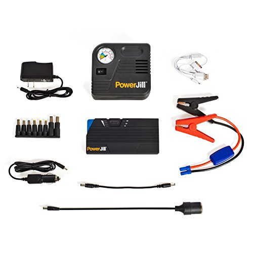 Portable Jump Starter for Cars and Vehicles - with Air Compressor - with Multi-Function Portable Power Bank and LED Flashlight 600A Peak Current 15000mAh by PowerJill (Electric Remote Starter For Car compare prices)