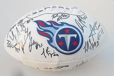 2015 Tennessee Titans Team Signed Logo Football w/COA - Autographed Footballs