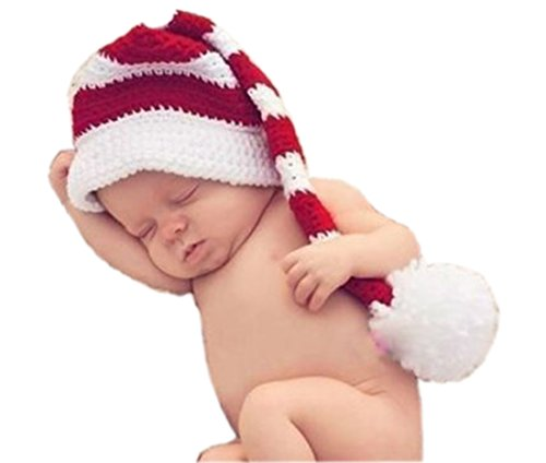 Baby Girl Boy Crochet Costume Santa Stocking Long Tailed Hat