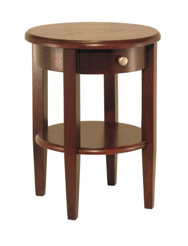 Winsome Wood Round End Table with Drawer and Shelf, Antique Walnut