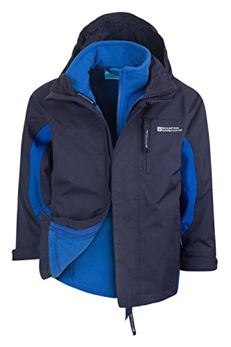 Mountain Warehouse Cannonball 3In1 Kinder Wasserdichte Jacke Doppeljacke Abnehmbarer Kapuze Fleece Marineblau 104