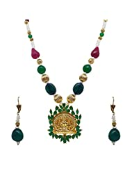 Sthrielite Enchanting Gold Plated Lakshmi Design Necklace Set