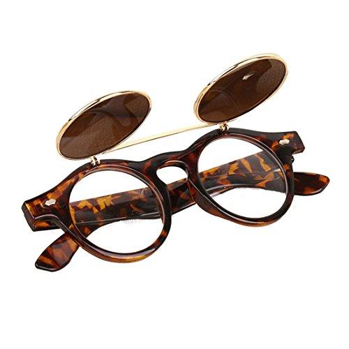 Voberry-Fashion-Steampunk-Design-Costume-Round-Glass-Flip-up-Clear-Lens-Golden-Frame-Brown-Sunglasses-Glasses-Eyewear-Lens