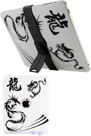 HHI iPad Rubberized Graphic Art Case with Attachable Kick Stand - Dragon (Free Screen Protector)