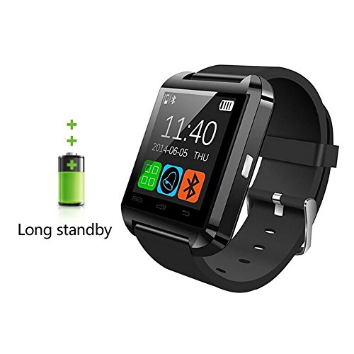 U8 Smart Watch, 007plus® Bluetooth 4.0 Fitness Smart Watch Phone for Smartphone Android Samsung S2/S3/S4/S5/S6Note 2/Note 3/Note 4/HTC Part Function for iPhone-U8 BLACK