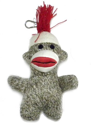 Pocket Sock Monkey Keychain Classic Brown - 1