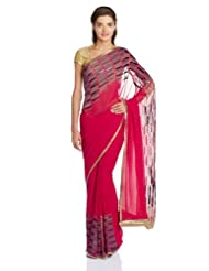 Satya Paul Gorgette Saree With Blouse Piece - B00IMDMPXW
