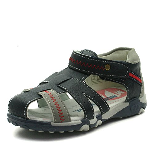 MN830 Murphy&Nye Boys Closed Toe Sandal in Navy Blue Red Trim Taglia 26