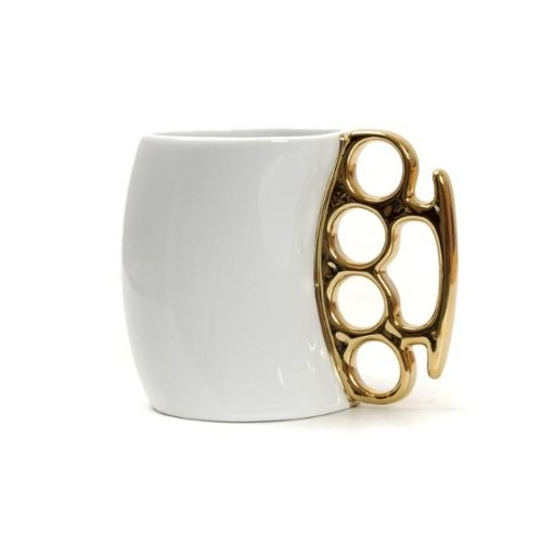 Generic Fist Cup Brass Knuckle Duster Handle Coffee Mug Color White And Golden Handle