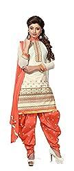 Krishna Fashion Women's Cotton Unstitched Dress Material (hari 1010_Orang Off White_Free Size)