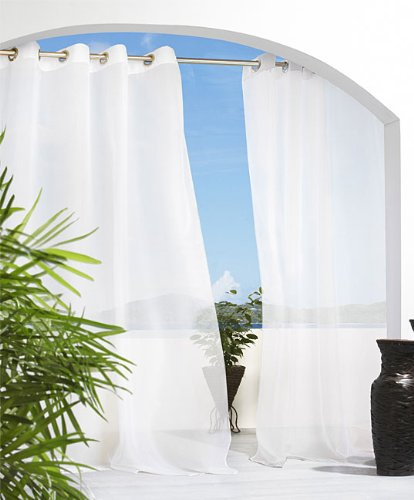 Sheer Outdoor Drapes / Only Grommet Top U2013 84u2033l, Each , White