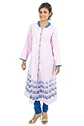 Kandida Madhubani Print Pink Long Cotton Kurta