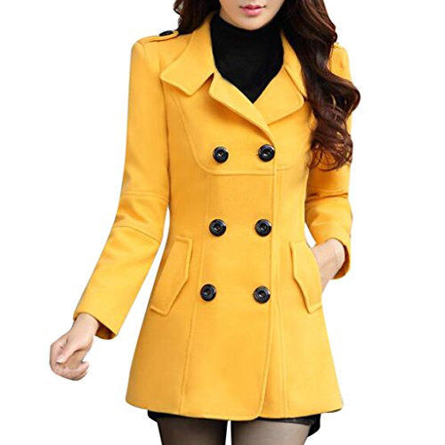 Ms Stunner Women's Solid Color Double Breasted Elegant Autumn Winter Wool Coats Yellow CN M