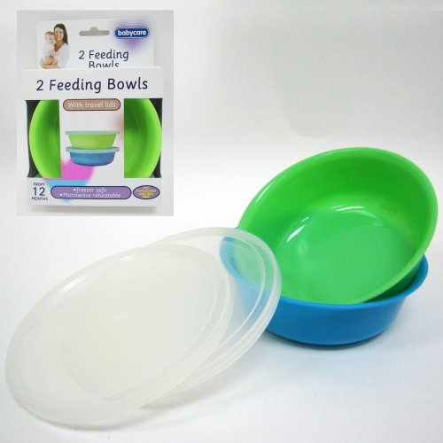 2 Baby Feeding Bowls Lids Set Kids Blue Green Plates Snack Bpa Free Toddler New front-861444